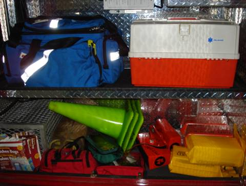 First aid kits, traffic cones, head blocks, helicopter beacons