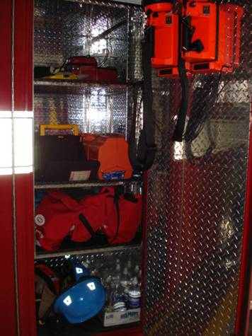 Defibrillator, flashlights, portable O2, Rescue helmets
