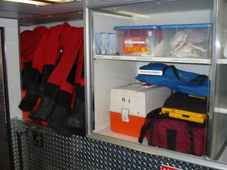Ice rescue suits, infection control kit, First aid kit, c-collars, defibrillator, O2 kit